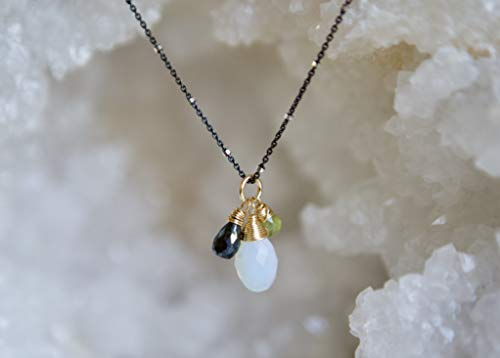 (Milky Opal, Black Spinel & Green Period Oxidized Sterling Silver)