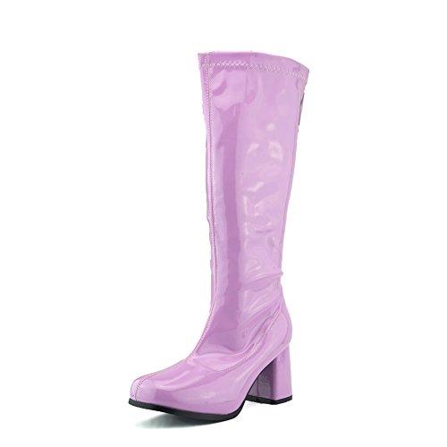 Kick Footwear Ladies Knee High High Block Heel Go Go Long Boots Pink