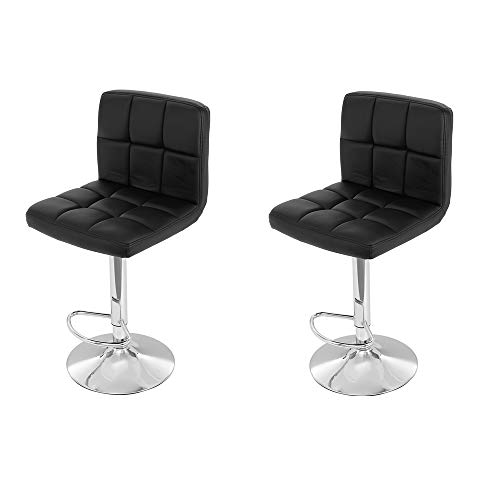 (2PCS Leather Barstool Height Adjustable Pub Chair Counter Height Bar Stools Square Swivel Stool by Leopard for Office Home Beauty Salons Bar, Delivery from America Stock, Get it About 7 Days)
