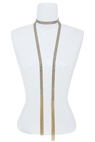 BAUBLES & CO 5 ROW LARGE CRYSTAL CHAIN MESH SCARF NECKLACE (Clear/Gold)