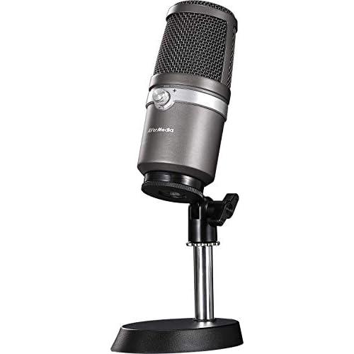 chollos oferta descuentos barato AVerMedia AM310 Micrófono Grabación de alta calidad Patrón cardioide Plug and Play USB2 0 Sin latencia monitoriza a tiempo real para juegos Podcasting Streaming Youtuber