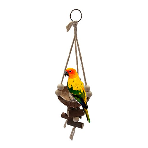 Comidox Naturals Coco Hideaway with Ladder Bird Toy 1pcs by Comidox