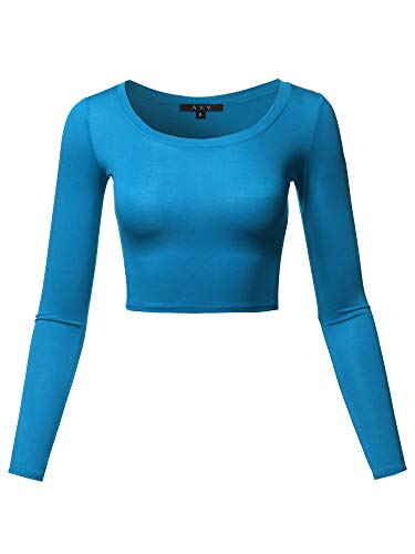 Teal Womens Long Sleeve - Basic Solid Stretchable Scoop Neck Long Sleeve Crop Top Teal S