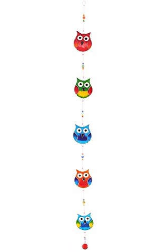 Hanging String Of Multi Coloured Stained Glass Effect Owl...