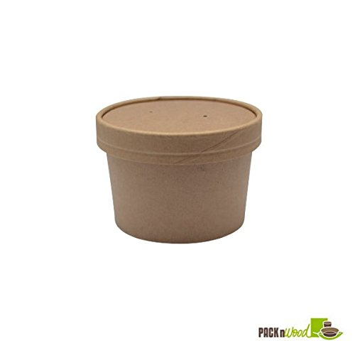 Packnwood 210SOUPCOK8 8 oz. Brown Kraft Soup Cup with Kraft Paper Vented Lid