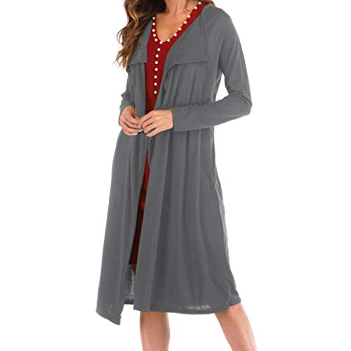 TOPUNDER Loose Turn-Down Callor Cardigan for Women Fashion Solid Long Sleeve ()