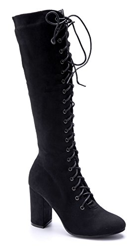 Schuhtempel24 Damen Schuhe Klassische Stiefel Stiefeletten Boots Blockabsatz 10 cm High Heels Schwarz