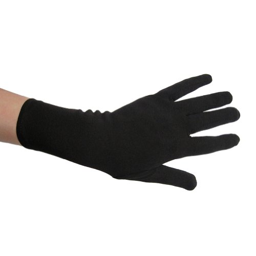 Black Costume Gloves (Wrist Length) ~ Halloween Costume Accessories -