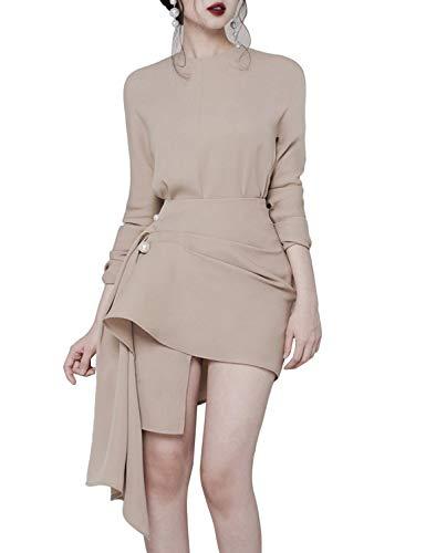 Sunlen Khaki O-Neck Mini OL Elegant Asymmetrical Hem Dresses 2 Piece Sets for Women SL1BH5805 (Khaki, S) ()