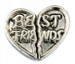 Best Friends Heart Double Floating Charm for Heart Lockets (Double Heart Floating)