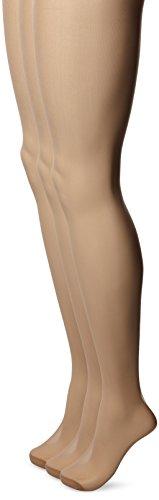 No Nonsense Women's Ultra Sheer Regular Pantyhose with Reinforced Toe , Honey, B,(Pack of 3) (Regular Sheer Toe Pantyhose)