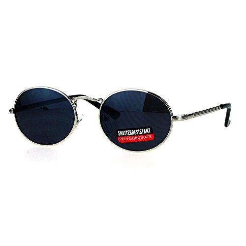 Mens 90s Gangster Rapper Mirror Lens Oval Retro Metal Rim Sunglasses Silver - 90s Glasses