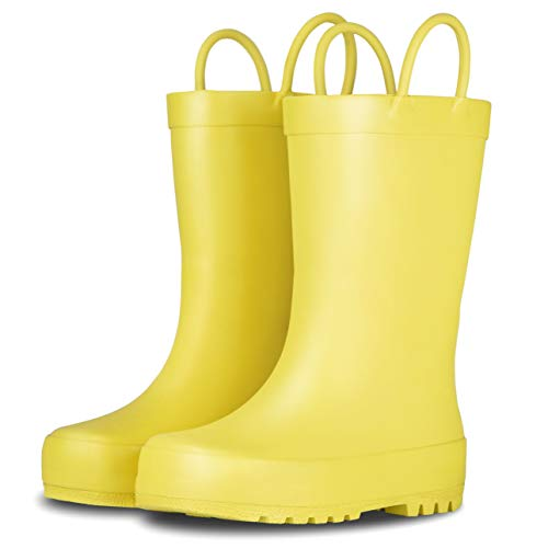 LONECONE Elementary Collection - Matte Rain Boots with Easy-On Handles for Toddlers and Kids, Sunshine Yellow, Toddler -
