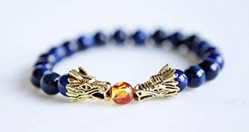 Blue Tiger Eye and Brass Dragon Pendant Stretch Bracelet