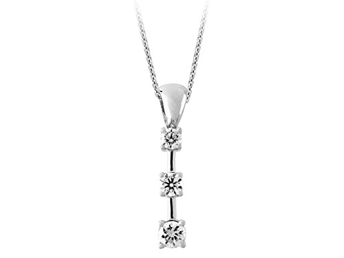 Birgie Diamants et Bijoux - Pendentif 3 Diamants 0.62 Carat-Femme- or Blanc 201P0046
