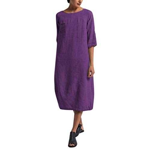 Sharemen Women's Cotton Linen Tunic Dress Pleated Short Sleeve Sundresses Summer Daily Pullover(Purple,M)