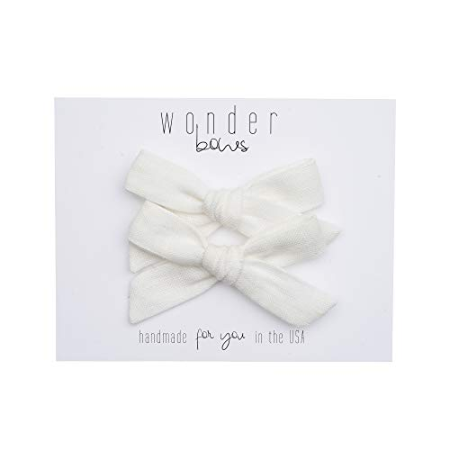 Handmade Hair Bows Pigtail Sets For Baby Girls and Toddlers (One Size Fits All) (Linen - White) ()