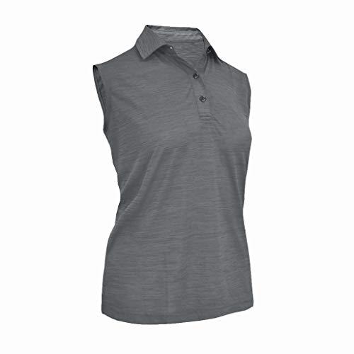 Monterey Club Ladies Melange Jersey 3 Buttons Sleeveless Shirt #2423 (Gray, Small)