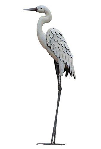 CHSGJY Vintage Egret Regal Garden Art 3D Decor Heron Bird Metal Statue Yard Indoor Outdoor Decoration (Statues Metal Bird)