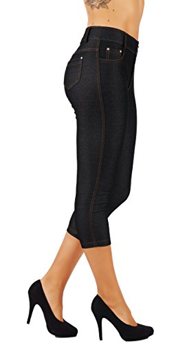 5StarsLine Women's Jean Look Jeggings Tights Slim Fit Pull Up Pants Solid Colors Full Length and Capri Casual Leggings (L USA 10-12, 5S01-CP-BLK)