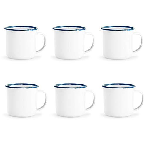 - Rink Drink White Enamel Espresso Coffee Mugs - 150ml - Blue Trim - Pack of 6