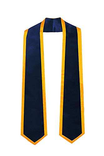 GraduationMall Plain Graduation Honor Stole Classic End Navy Blue With Gold Trim Unisex Adult 60