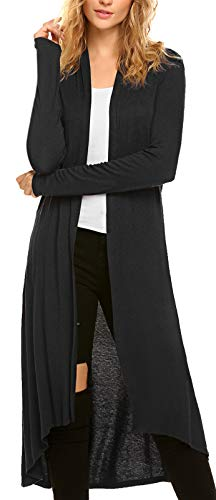 Casual Long Flowy Open Front Floor Length Drape Lightweight Duster Sweater Made in USA Isaac Liev Womens Maxi Cardigan