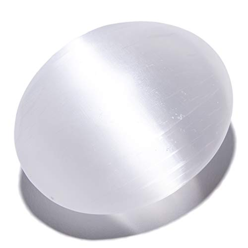 KALIFANO Selenite Worry Stone with Healing & Calming Effects - High Energy Palm Stone Used for Cleansing and Protection (Information Card/Certificate of Authenticity Included)