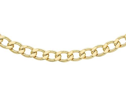 """Jewellery World Bague en or jaune 9carats 100Plat Chaîne gourmette 46cm/18"""""""