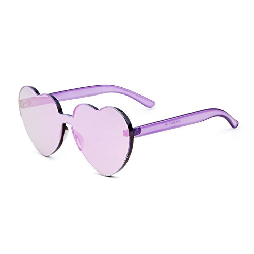 Love Heart Shape Sunglasses Women Rimless Frame Colorful - Rimless Sunglasses Womens