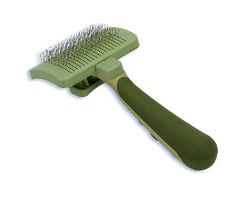 Safari Pet Products SAFARI Cat Self-Cleaning Slicker Brush, One Size, Cat Brush, Cat Brush for Shedding, Cat Hair Brush, Cat Brushes for Grooming, Stainless Steel, Comfort Grip Handle