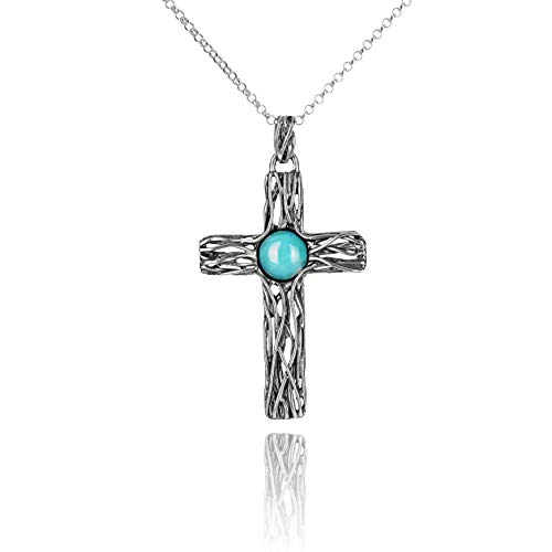 Paz Creations .925 Sterling Silver Turquoise Textured Cross Pendant, Made in Israel