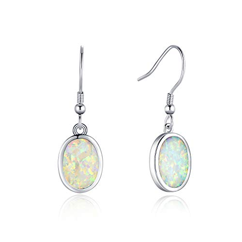 Fancime White Gold Plated 925 Sterling Silver Oval White Created Opal Dangle Drop Earrings For Women Girls