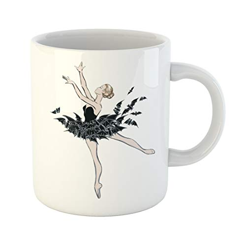 Semtomn Funny Coffee Mug the Portrait of Ballerina in Fantasy Dress Bats Ballet Dancer 11 Oz Ceramic Coffee Mugs Tea Cup Best Gift Or Souvenir ()