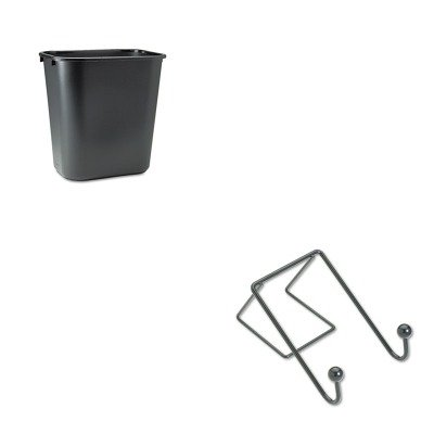 KITFEL75510RCP295600BK - Value Kit - Fellowes Partition Additions Wire Double-Garment Hook (FEL75510) and Rubbermaid-Black Soft Molded Plastic Wastebasket, 28 1/8 Quart (Fellowes Double Basket Wire)