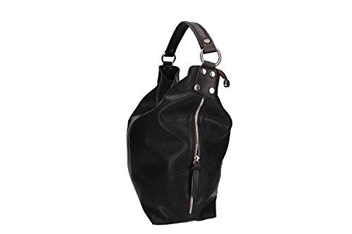 Tasche damen schulter PIERRE CARDIN schwarz in leder MADE IN ITALY VN955