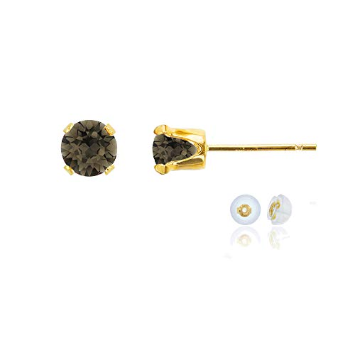- Genuine 10K Solid Yellow Gold 5mm Round Natural Smokey Quartz Birthstone Stud Earrings