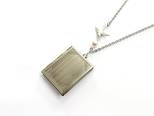 Book Locket (Rectangle Book Locket In Antique Silver With Flying Bird And Freshwater Pearl, Stainless Steel Chain)
