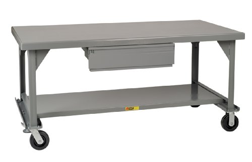 Little Giant WW-4284-HD-6PHFL Welded Steel Mobile Workbench with Casters, Floor Lock and Heavy Duty Drawer, Gray, 3600 lbs Load Capacity, 34
