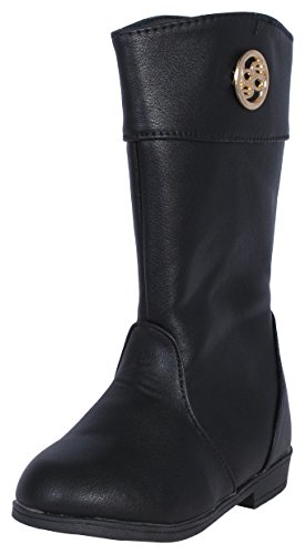 'Bebe Girls Riding Boots with Bebe Medallion, Black, Size 10'