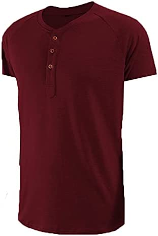 SAMACHICA Men Henley Shirts Classic Tees – Men's Short Sleeve Fashion Cotton Tee Casual Beach T Shirts with Button
