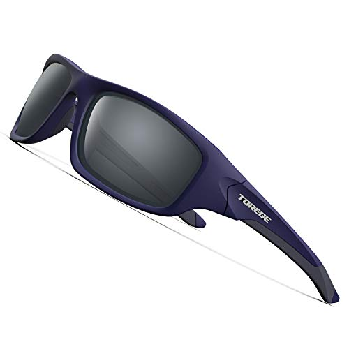 TOREGE Polarized Sports Sunglasses for Man Women Cycling Running Fishing Golf TR90 Unbreakable Frame TR011 (Blue&Grey Frame with Grey Lens)