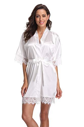 Satin Lace Robe - Original Kimono Women's Lace-Trimmed Satin Short Kimono Robe Bathrobe Loungewear White S