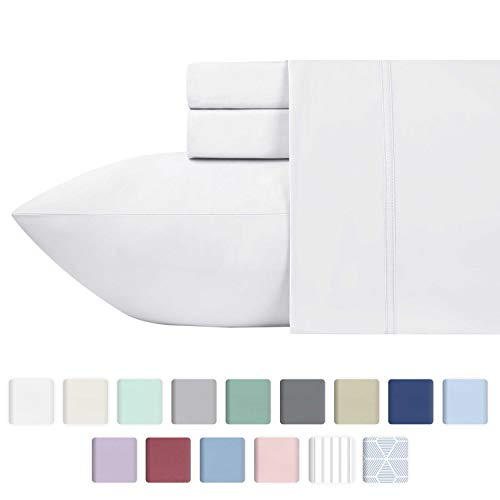 600-Thread-Count Best 100% Cotton Sheets & Pillowcases Set - 4 Pc Pure White Long-staple Combed Cotton Bedding Queen Sheet For Bed, Fits Mattress Upto 18