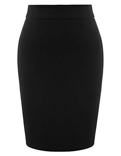 - Plus Size Women's Elastic Waist Stretch Bodycon Midi Pencil Skirt Black 20W