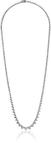 Platinum-Plated Sterling Silver Swarovski Zirconia Round-Cut Graduated Riviera Necklace, 24