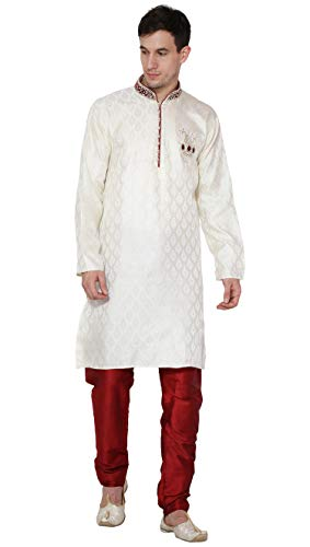 SKAVIJ Men's Art Silk Kurta Pajama Set Indian Ethnic Dress (Medium, Off-White)