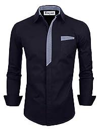 TAM WARE Mens Premium Casual Inner Contrast Dress Shirt TWNMS310S-CMS05-NAVY-US XL
