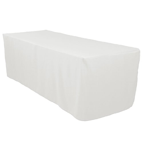 LinenTablecloth 8 ft. Fitted Polyester Tablecloth White