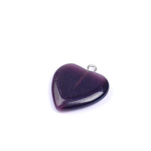 (10 Pcs/lot Heart Shape Opal Stone Pendant Cat Eyes Beads Charm Pendant For Jewelry Making (Dark Purple))